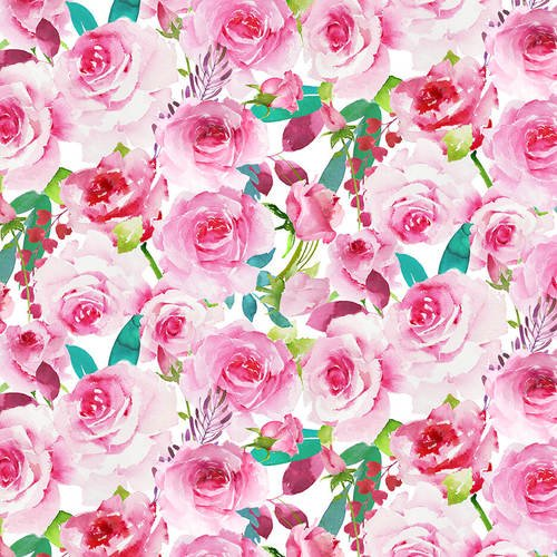 Henry Glass Love Letters, Valentine's Fabric by the yard, half yard, Watercolor Roses