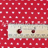 Valentine's Day Fabric by the Yard or Half Yard, Red with White Hearts