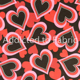 Valentine Toss Fabric by the Yard, Fabric by the Half Yard, Valentine's Day, Hearts