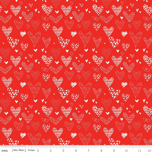 Valentine's Fabric by the Yard, Half Yard, From the Heart Riley Blake, Hearts on Red