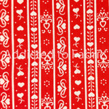 Valentine's Day Fabric by the Yard or Half Yard, Red with White Hearts and Stripes
