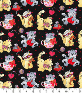 Valentine Fabric by the Yard or Half Yard, Valentine Kittens by Fabric Traditions, Cotton Fabric