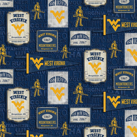 West Virginia University Mountaineers Fabric by the Yard or Half Yard