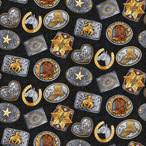 Wild Wild West Fabric by the Yard or Half Yard, Rodeo Buckles, Western