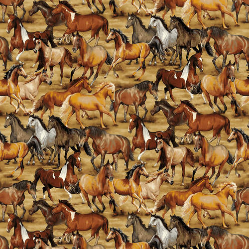 Wild Wild West Fabric by the Yard or Half Yard, Wild Horses, Western