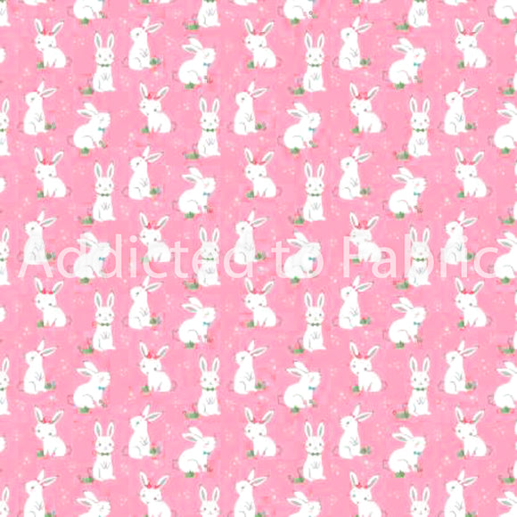 Winifred Rose Bunny, Easter Fabric by the Yard and Half Yard, Pink, Bunnies, Rabbit