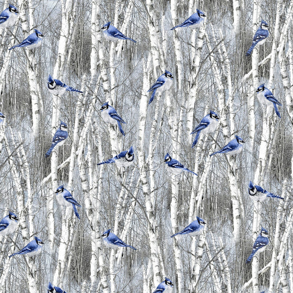 Winter Blue Birds Fabric by the Yard or Half Yard, Timeless Treasures