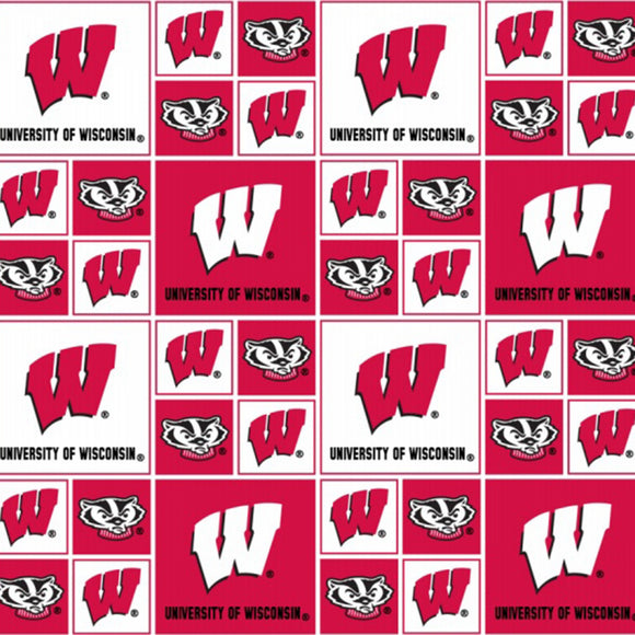 University of Wisconsin Badgers Fabric by the Yard or Half Yard, Block