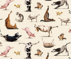 Yoga is for Everyone, Fabric by the Yard and Half Yard, Cream, Farm Animals