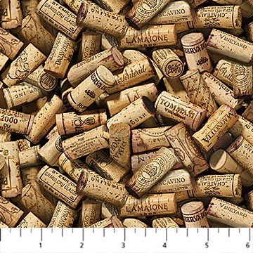 You Had Me at Wine Fabric by the Yard, Wine Corks, Northcott