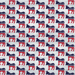 Your Vote Counts, Democrat Fabric by the Yard and Half Yard, Political Donkey