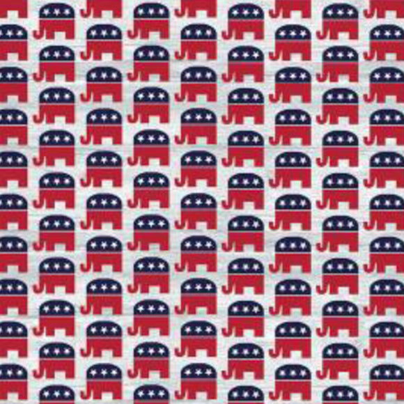 Your Vote Counts, Republican Fabric by the Yard and Half Yard, Political Elephants