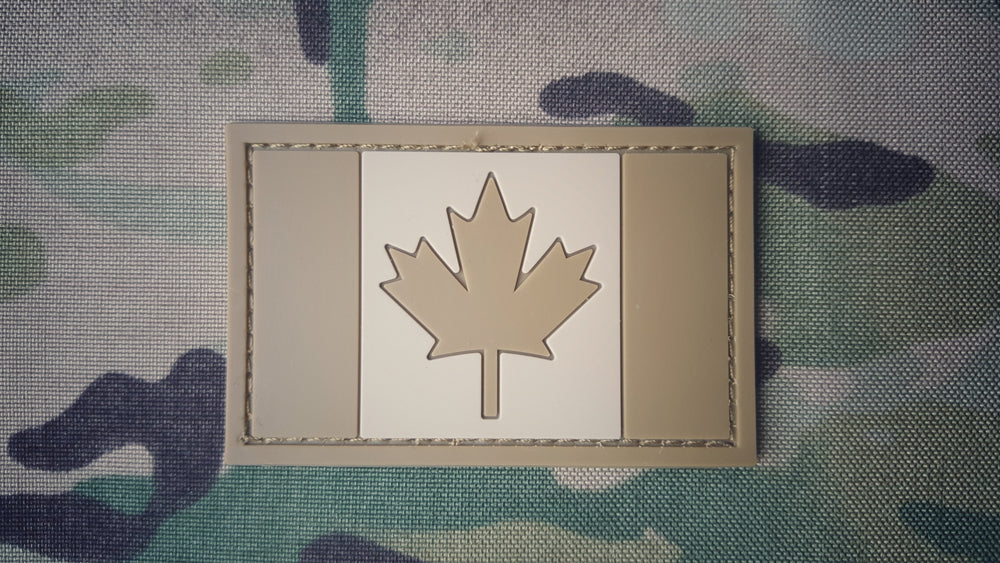 Canadian Flag Patch - PVC - TAN