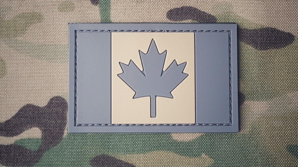 Canadian Flag Patch - PVC - GRAY/TAN