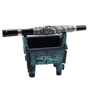 Metal Bronze Vintage Fountain Pen Holder Collection Desktop Decoration - Ori Wisdom