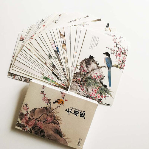 30Pcs/set Chinese Flower and Bird Painting with Nalan Xingde's Ci Poetry Postcards - Ori Wisdom