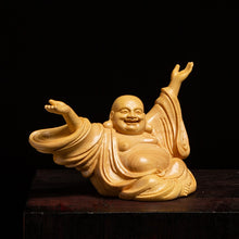 Boxwood Maitreya Sculpture Laughing Buddha Wood Statue Lucky Feng Shui Home Decor - Ori Wisdom