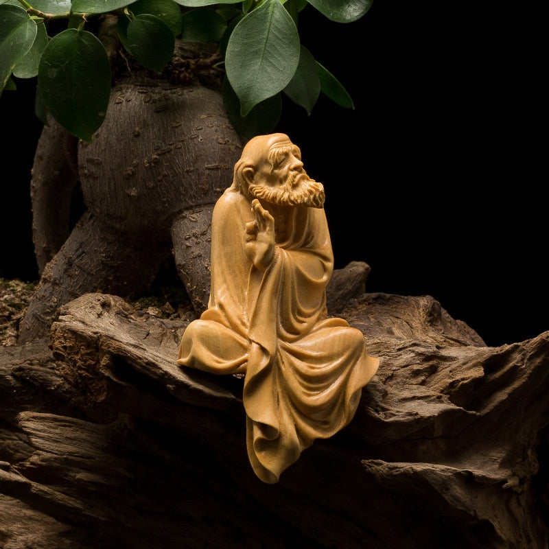 Boxwood Dharma Sculpture Wood Carving Buddha Statue Zen Buddhism Home Decor - Ori Wisdom