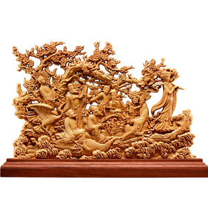 Thuja Wood Eight Immortals Sculpture Decorative Dish Hollow Wood Carving Lucky Gift God of Wealth Collection - Ori Wisdom