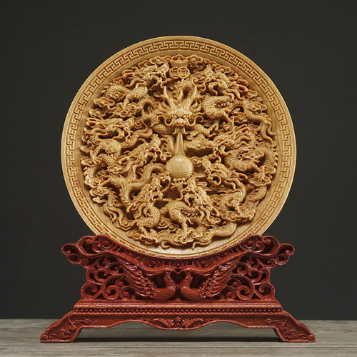Thuja Wood Decorative Dish Sculpture Boat Wood Wealth Carving Lucky Gift Collection Dragon Phoenix - Ori Wisdom