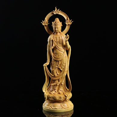 Boxwood Guanyin Sculpture Wood Carving Buddha Statue - Ori Wisdom