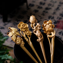 Boxwood Hair Stick Statue Hairpin Chinese Ancient Rhyme Hair Plum Headdress Lucky Chinese Flower Wood Hair Stick - Ori Wisdom