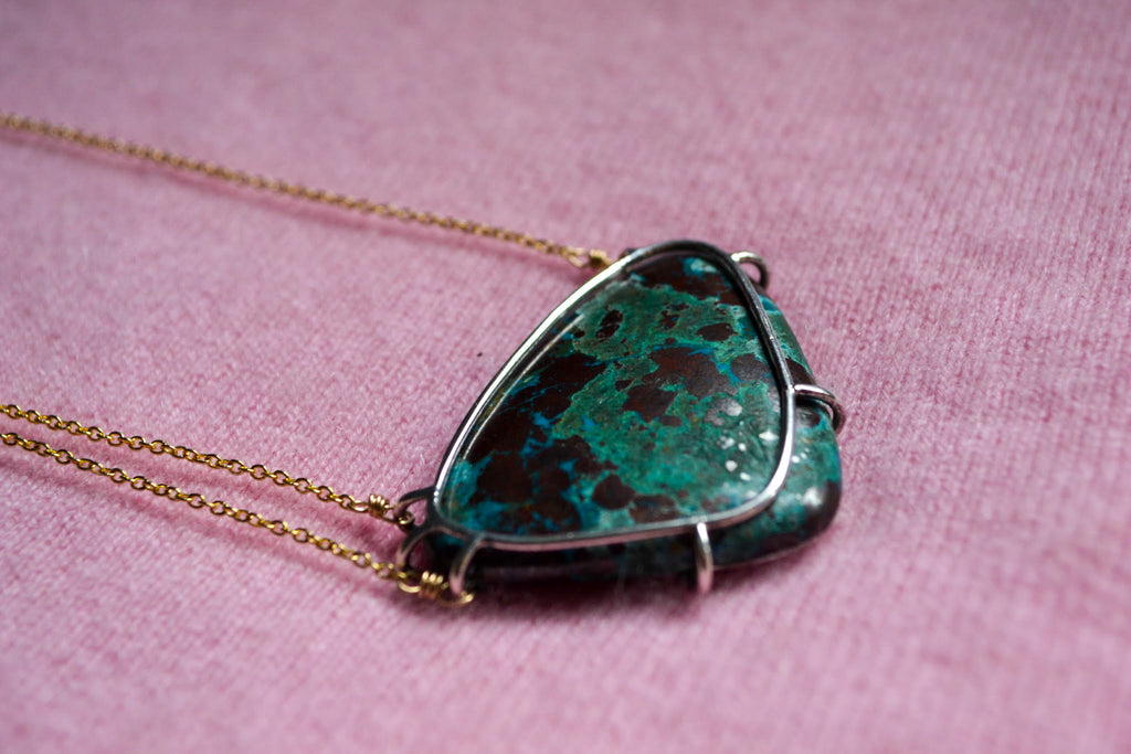 Cage set chrysocolla necklace