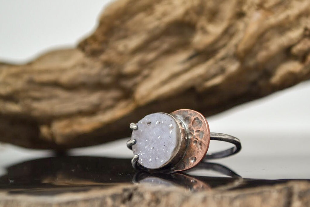 Lunar Eclipse Druzy Ring