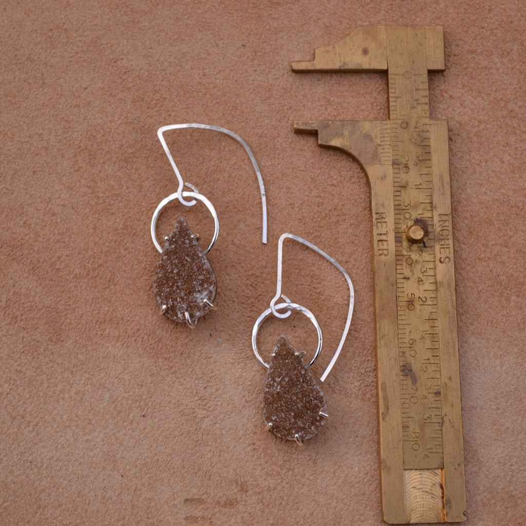 Sparkle Drop Earrings (warm taupe)