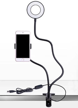 Clip on ring light/phone holder