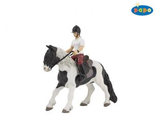 Papo 51117 Pony with saddle & Papo 52004 Young Riding Girl
