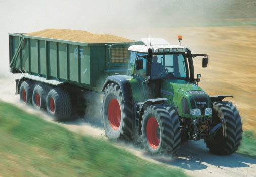 Green Fendt Tractor and Grain Trailer Greeting Card
