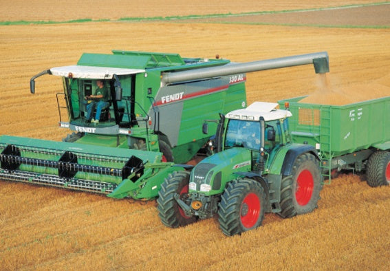 Green Fendt Combine Harvester, Tractor and Trailer Greeting Card