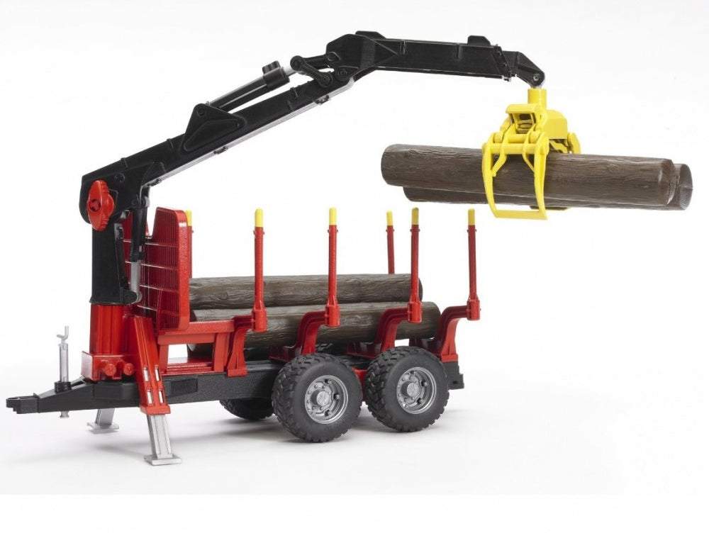 Bruder Forestry Trailer with Loading Crane, 4 Trunks & Grab 02252