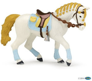 Trendy horse with blue leg ...