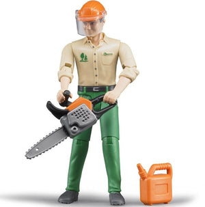 Forestry worker man with ch...