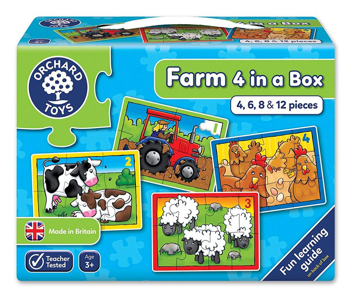 4 farm counting puzzles: tractor, cow, sheep, chicken