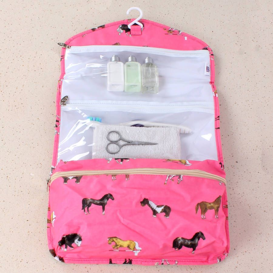 Folding Wash Bag with Hanger Pink