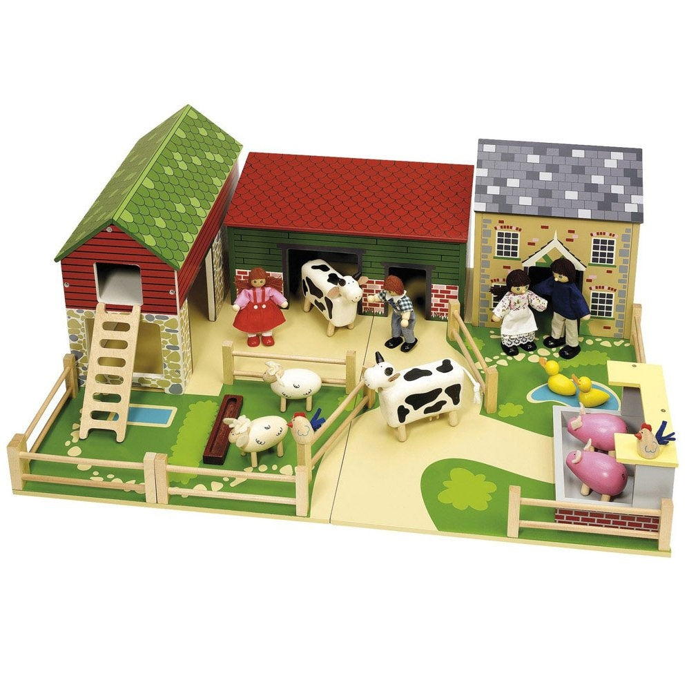 John Crane Oldfield Wooden Farm with Wooden Animals