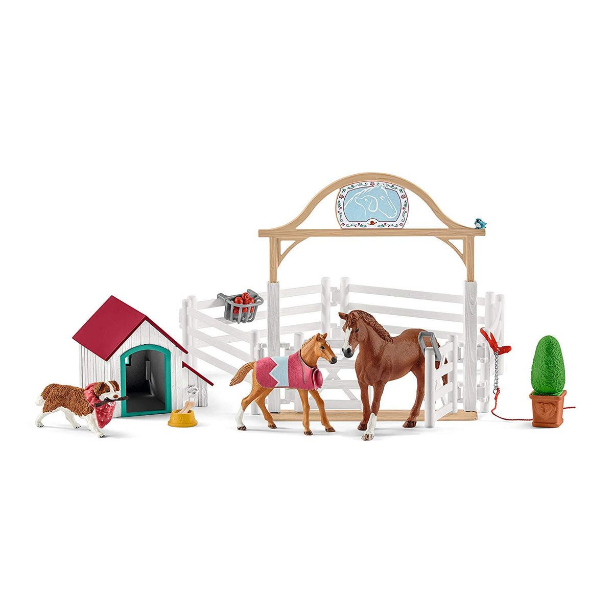 Schleich Hannah's Guest Horses with Ruby the Dog Playset 42458
