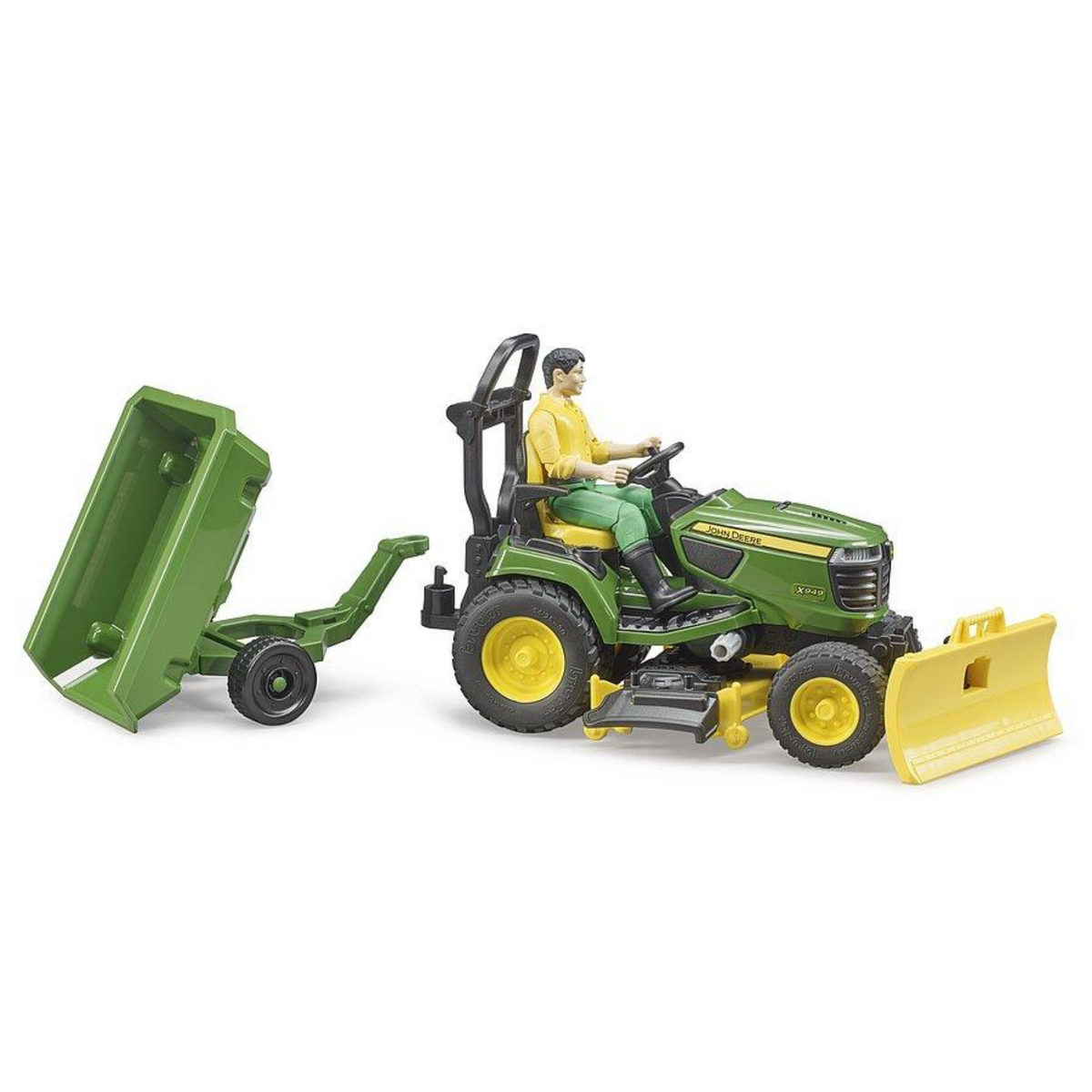 Bruder John Deere Ride on Lawn Mower with Trailer & Man 62104