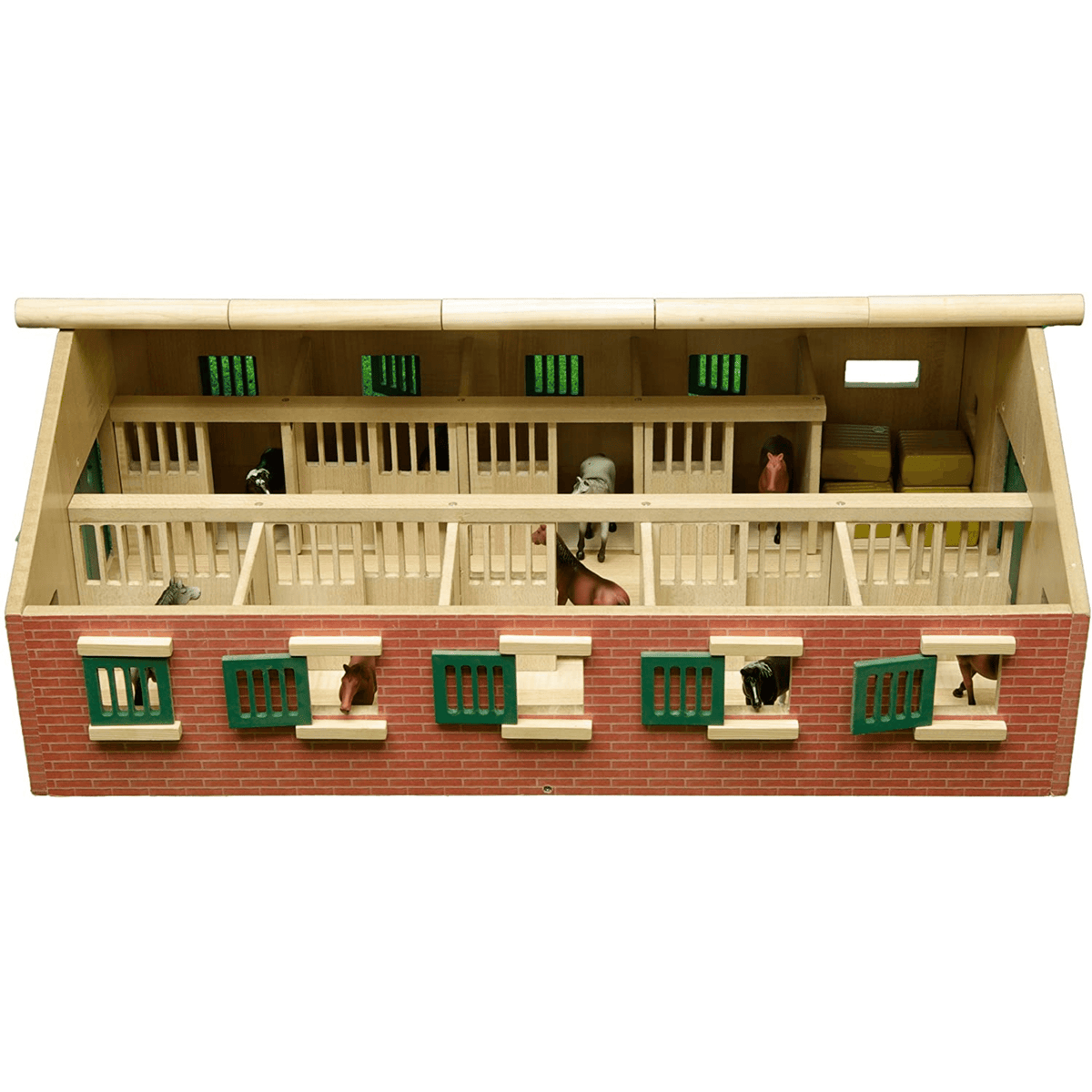 Kids Globe Wooden 9-Horse Stable