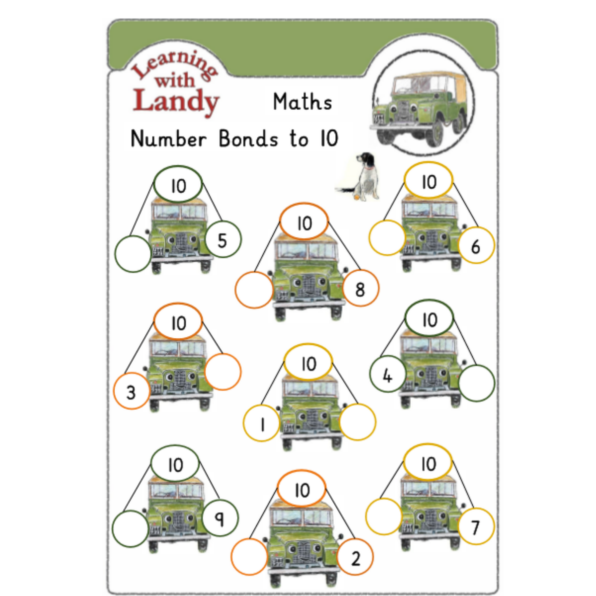 Free Landy Number Bonds 1-10 Work Sheet