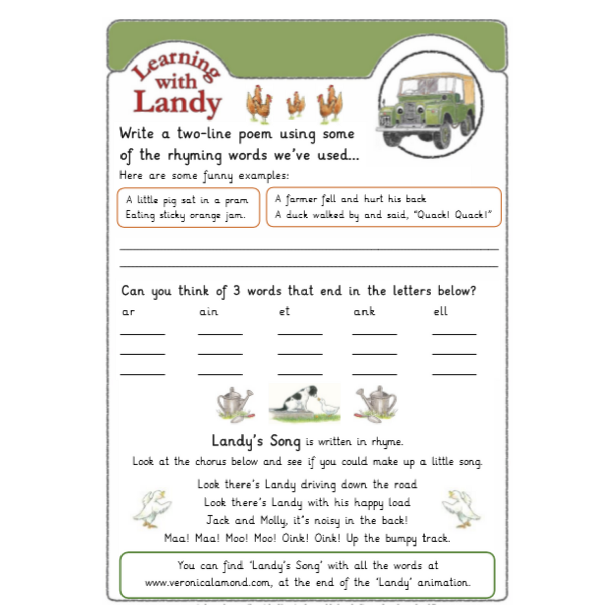 Rhyming with Landy worksheets