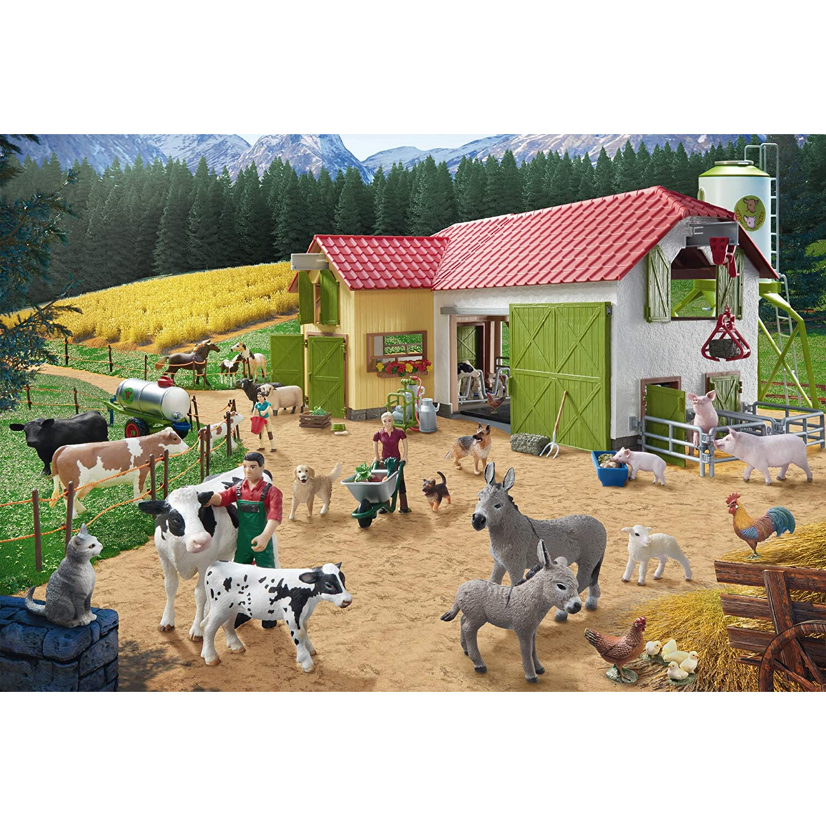 Schmidt A Day At The Farm Puzzle with Schleich Figures