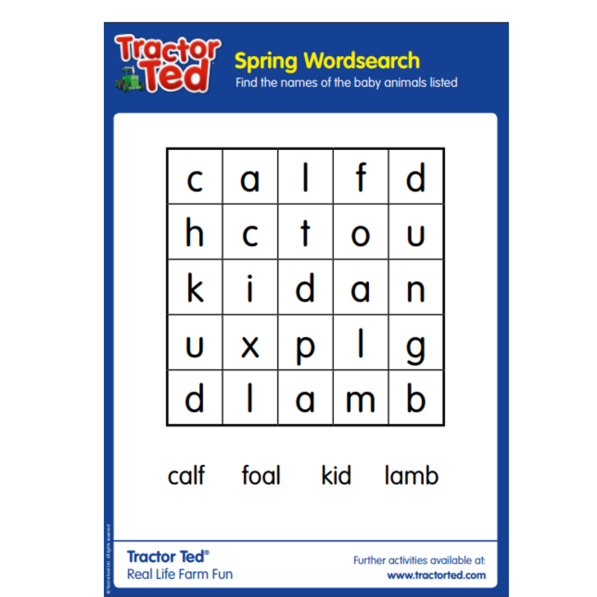 Tractor Ted Spring Wordsearch