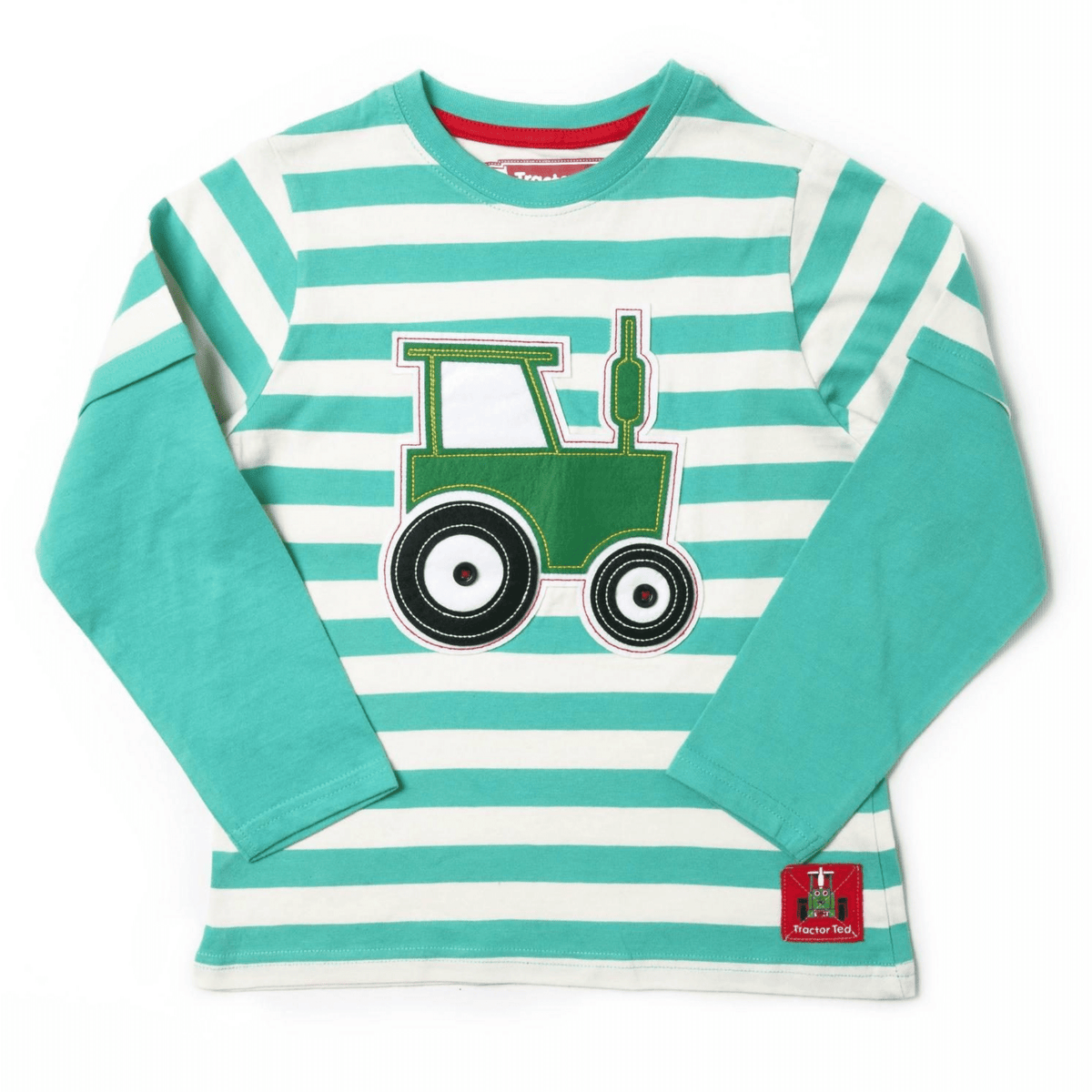 Tractor Ted Stripey Long Sleeve Teal T-shirt
