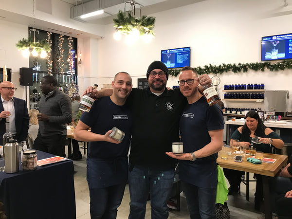 Candle Studio Owners, Nick Duve and Steve Duve with Cleveland Whiskey representative, Kevin Orr