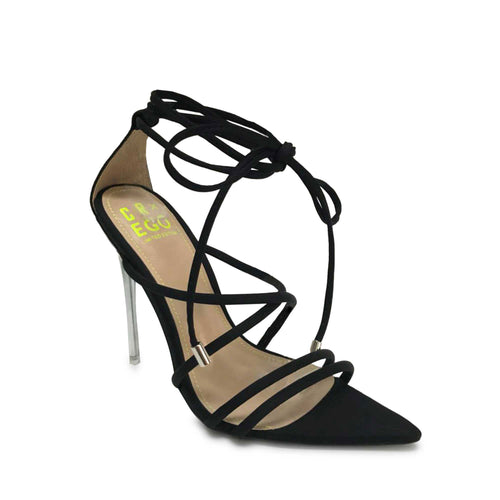 shoefits black stilettos with silver heel and strappy ankle