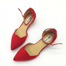 ShoeFits - red pointy flats women fashion shoes